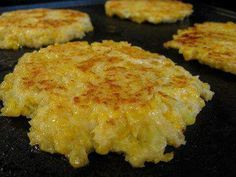"Cheesy Cauliflower Patties 1 head cauliflower 2 lg eggs 1/2c cheddar cheese, grated 1/2c panko (found in the bread crumb aisle) 1/2t cayenne pepper (more or less to taste) Salt Olive oil Cut cauliflower into florets & cook in boiling water until tender (about 10mins). Drain. Mash the cauliflower while still warm. Stir cheese, eggs, panko, cayenne & salt to taste. Coat the bittom of a griddle or skillet with olive oil over medium heat. Form the mixtureWeb into patties about 3"" across. Cook…"
