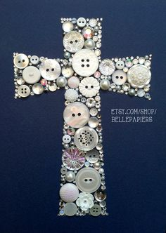 5x7 Button Art Cross Buttons and Swarovski Rhinestones Custom Wall Art