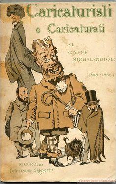 Cartolina caricaturale di Telemaco Signorini per il Caffè Michelangelo. #Firenze.