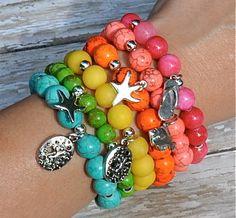 NEW Summer Beach Charm Bracelets / Beaded Bracelets by BeadRustic, $34.00
