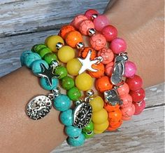 NEW Summer Beach Charm Bracelets / Beaded Bracelets by BeadRustic, $34.00