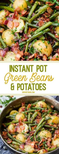 Instant Pot Green Beans and Potatoes - Keto For Weightloss - Ideas of Keto For Weightloss - Its a Southern tradition with an electric pressure cooker twist! These Instant Pot Green Beans and Potatoes are so flavorful tender and theres bacon on top! Cooking For Two, Easy Cooking, Cooking Recipes, Cooking Ideas, Cooking Light, Cooking Kale, Cooking Artichokes, Cooking Corn, Cooking Pasta
