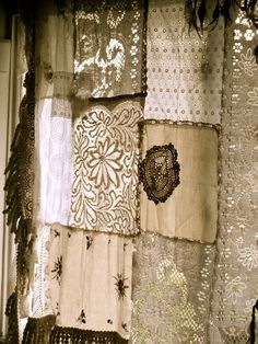 Project for all of the embroderies and crochet lace from grandmothers Scrap Lace Curtain