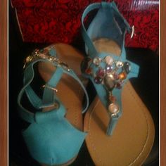 ☆Sandals with colorful rhinestones☆ Turquoise handles with colorful rhinestones. NIB. They are very cute and stylish. Can only  be negotiated if it's combined in a bundle . Shoes Sandals