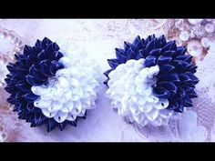 Банты  школьные Хризантемы Инь-Янь  по спирали. Fabric Flowers, Paper Flowers, Hair Bows, Ribbon, Hanukkah, Wreaths, Crafts, Handmade, Jewelry