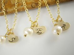 Flower Girl Gift Gold Initial Necklace