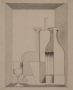 Amédée Ozenfant  (1886-1966) - Tasse, verre et bouteille devant la ...