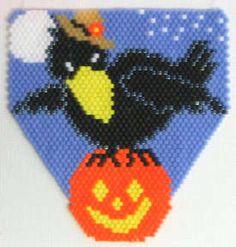 Harvest Crow on Pumpkin Pendant Bead Pattern at Sova-Enterprises.com