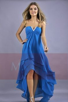 Robe de cocktail en mousseline bleue Maysange