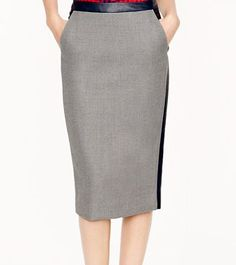 Professionelle: Collection No. 2 Pencil Skirt in Leather-Tipped Double-Serge Wool