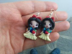 Snow White Earrings handmade polymer clay two by MarienneCreations