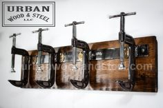 Industrial C-Clamp Coat Rack  by urbanwoodandsteel on Etsy