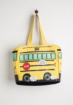 Play It School Tote. Get ready to 'bus'-t a move on the floor of fun fashion, because this concurrently adorable and tongue-in-cheek bag will school every other stylista around! #yellow #modcloth
