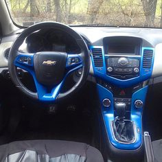 Dip your car, or just the dashboard. Diphead Chaz started dipping his ride from the inside out, and we're digging the bright Plasti Dip Blaze Blue accents. Chevy Cruze Custom, 2017 Chevy Cruze, Chevrolet Cruze, Plasti Dip Car, Camaro Interior, Jeep Wj, Car Mods, Truck Mods, Sport Cars