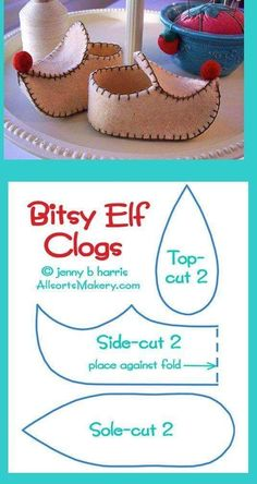 Sweet little elf shoes! all star para american girl dolls Baby shoes but also a nice breakdown of pointy clogs felt clog for St Nicholas day at catechism class? Image: Lovely Shoe For This Summer Outfit. Felt Crafts, Christmas Crafts, Christmas Costumes, Crochet Crafts, Sewing Crafts, Sewing Projects, Doll Shoe Patterns, Baby Shoes Pattern, Elf Shoes