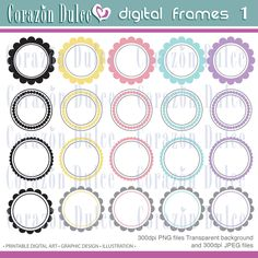 CIRCLE FRAMES Clipart 1 Original designs elemnets- For Personal and Commercial use. $3.50, via Etsy. Personalized Tags, Printing Labels, Digital Image, Gift Tags, Frames, Commercial, Card Making, Clip Art, Graphic Design