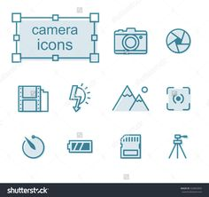 Thin line icons set, Linear symbols set, Camera Photo by thesomeday123 on Shutterstock