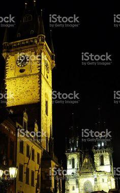 Old Town Square of Prague at night foto stock royalty-free