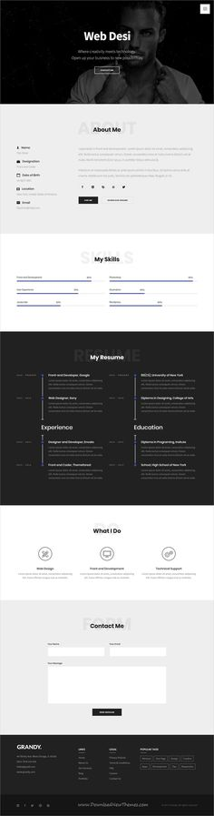 Grandy is clean and modern design multipurpose responsive bootstrap template for #freelance #CV and #resume website with 15 niche homepage layouts download now..