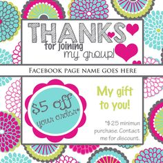 Thirty-One Facebook group photo- Thanks for joining my group- free gift- bubble bloom- Spring 2015