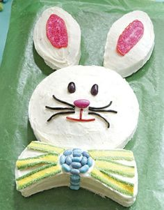 Cute Easter Cake - I have made this cake almost every single Easter since I had kids, and maybe even before!  I usually put coconut on the ears and maybe the face for the fur though...REALLY good, and the kids still want it!!!!!  lol