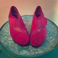 Red suede booties Red suede Earthies booties. Only worn once! Earthies Shoes Ankle Boots & Booties