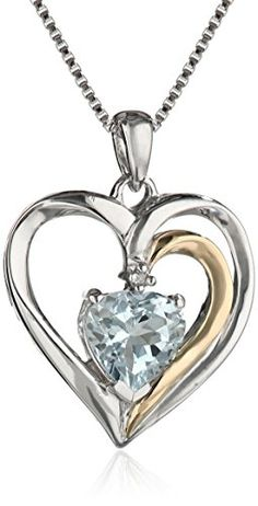 Sterling Silver and 14k Gold Aquamarine and Diamond Heart Pendant Necklace (.007 cttw, I-J Color, I2-I3 Clarity), 18""