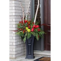 FCMP Outdoor Heritage Self Watering Outdoor Garden Patio Planter Pot, 2 Pack Outdoor Christmas Planters, Patio Planters, Fall Planters, Christmas Porch, Outdoor Christmas Decorations, Christmas Wreaths, Planter Pots, Holiday Decor, Front Porch Decorations