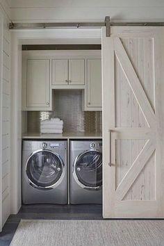 Hidden Laundry Rooms, Laundry Room Organization, Laundry Room Design, Laundry In Bathroom, Laundry Decor, Bathroom Closet, Basement Laundry Rooms, Organized Laundry Rooms, Laundry In Kitchen