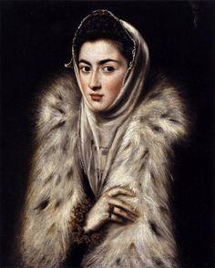 """Art from Spain - Doménikos Theotokópoulos (Crete 1541– Toledo 1614), most widely known as """"El Greco"""", was a painter, sculptor and architect of the Spanish Renaissance. - La dama del armiño - A Lady in a Fur Wrap: 1577-80 (Atribuido (con dudas) a El Greco, es posiblemente  un retrato de la Infanta Catalina Micaela, hija de Felipe II). Pollok House, U.K."""