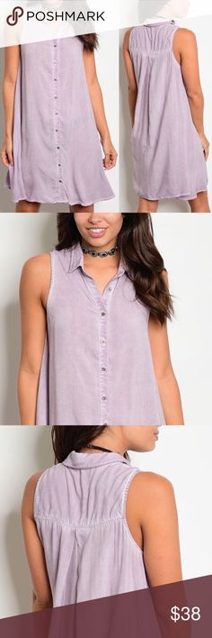 🌟New Arrival🌟Lavender Button Down Dress This sleeveless collared button down dress is perfect for day or night. 100% rayon Buy single piece or add to a bundle for savings at purchase. No trading. Price is firm. Boutique Dresses