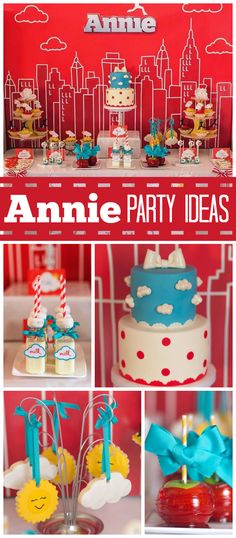 An Annie movie themed girl birthday party with a New York skyline backdrop and sun and clouds cookies! See more party planning ideas at CatchMyParty.com!