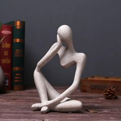 """* We are happy to announce our new collection """"The Thinker"""". Abstract Thinker Sculpture, Resin, European Style Material: ResinFeatures: Abstract Thinker, Durable, DecorativeSize: 14cm x 25cm/4.33"""" x 9.45"""" Your Office Will Look Like A Museum. Perfect for office decor, gift. Human Sculpture, Sculpture Art, Pottery Sculpture, Sculpture Ideas, Clay Sculptures, Decor Crafts, Art Decor, Room Decor, Ceramic Sculptures"""