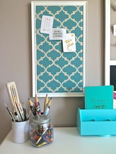 You can be more productive in a space you love! Office inspiration with teals, quatrefoil, and a fun journal!