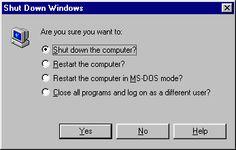 Fenetre d'arret de windows 95/98