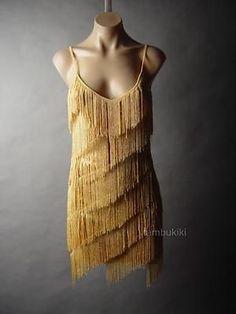 Oro Lentejuelas por niveles Borla Flecos vtg-y Años 20 Flapper noche elegante 42 Mv Vestido
