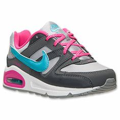 Girls' Preschool Nike Air Max Command Running Shoes | FinishLine.com | Wolf Grey/Pink Foil/Gamma Blue