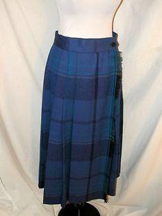 Sz 6 8 Vtg Escada Blue Plaid Wrap Around Skirt Side Fringe Mid Length Wool Pleat