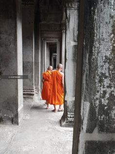 "Buddhist Monks in Orange Robes Photograph, Angkor Wat Ancient Ruins, Cambodia, Southeast Asia - 8x10"" Fine Art Photo Print. $20.00, via Etsy."