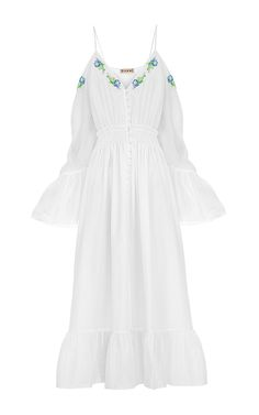 Embroidered Open Shoulder Dress by Flow The Label   Moda Operandi