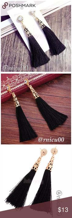 """🆕Black Tassel Crystal Elegant Earrings! These Black Tassel & Crystal Rhinestone Earrings are the perfect Versatile Accessory! Wear with your Boho Festival Outfit or that Gorgeous Cocktail Dress!✨ Either way, you will Love these!  *Approx. 3"""" Drop Length  *NO TRADES *Prices are FIRM-Listed at Lowest Price Unless BUNDLED! *Sales are Final-Please Read Descriptions! Boutique Jewelry Earrings"""