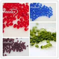 """452  =   за 80 шт  (Min order $10) 4*6MM 80Pcs/Pack Mixed 4 Colors """" Clear Style """" Water Drop Teardrop Czech Glass Crystal Bead Jewelry Beads"""
