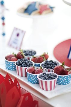 Candy Cups filled with Fruit | 4th of July Party Ideas