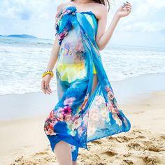 Sophisticated Multicolor Full Flower Pattern Long Soft Gauzy Beach Scarf For Women / Twinkledeals