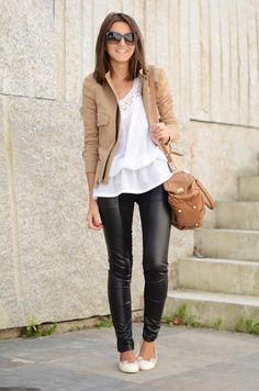 not sure about THESE pants.... but love the top, jacket, & bag.... look good with skinny jeans, denim or black