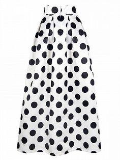 Shop White Polka Dot Print Maxi Skirt from choies.com .Free shipping Worldwide.$34.9