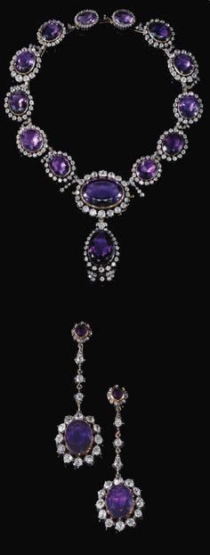 The 'Queen Amalia Parure'. Amethyst and diamond demi-parure, mid-19th century