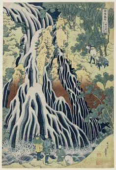 The Falling Mist Waterfall at Mount Kurokami in Shimotsuke Province (Shimotsuke Kurokamiyama Kirifuri no taki), from the series A Tour of Waterfalls in Various Provinces (Shokoku taki meguri), Katsushika Hokusai (Japanese, 1760–1849), about 1832 (Tenpô 3)