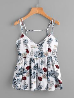 Shop Random Florals Open Back Peplum Cami Top online. SheIn offers Random Florals Open Back Peplum Cami Top & more to fit your fashionable needs. Cute Comfy Outfits, Cute Summer Outfits, Fall Outfits, Casual Outfits, Girl Fashion, Fashion Outfits, Crop Top Outfits, Cami Tops, Trendy Dresses