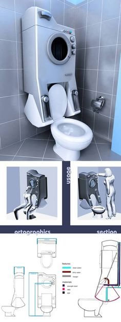 10 Awesome Gadgets To Reuse Water - awesome gadgets, unique gadgets Grey water from washing machine used to flush toilet. Great concept, just needs some. Unique Gadgets, Cool Gadgets, Camping Gadgets, Casa Bunker, Interior Design Living Room, Living Room Designs, Tyni House, Flush Toilet, Sustainable Design